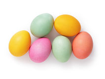 Uova di Pasqua variopinte da sopra Fotografie Stock Libere da Diritti