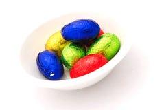 Uova di Pasqua Variopinte del cioccolato Fotografia Stock