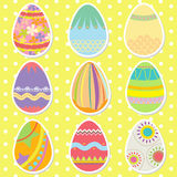 Uova di Pasqua variopinte del modello Fotografie Stock