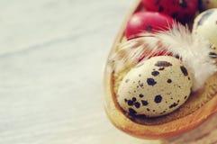 Uova di Pasqua variopinte della quaglia in un piatto di legno Immagine Stock