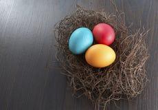 Uova di Pasqua variopinte in nido Immagine Stock Libera da Diritti