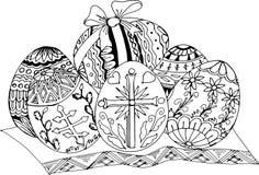 Uova di Pasqua verniciate Modelli disegnati a mano per colorare Disegno di schizzo a mano libera per il libro da colorare antistr Fotografie Stock