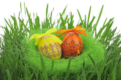 Uova di Pasqua Verniciate variopinte Fotografia Stock