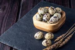 Uova di quaglia dell'azienda agricola di Eco su fondo di legno scuro Il concetto della casa ha prodotto l'alimento naturale Fotografia Stock