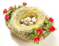 Uova di quaglia di Pasqua nel nido Fotografia Stock