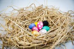 Uova di quaglia dipinte dai mestieri dei bambini per le uova di Pasqua, fatti a mano del manifesto di colore dipinto sull'erba de Immagini Stock