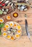 Uova di quaglia ed uova di quaglia fritte di delizioso Fotografia Stock Libera da Diritti