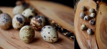 Uova di quaglia, fotografate in uno stile rustico semplice Alimenti ricchi di proteine semplici fotografie stock
