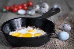 Uova di quaglia fritte in una padella Fotografia Stock Libera da Diritti