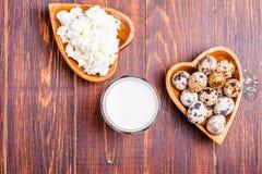 Uova di quaglia, ricotta, latte Fotografie Stock Libere da Diritti