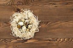 Uova di quaglia in un nido su un fondo di legno Immagine Stock