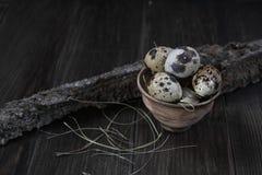 Uova di quaglia in vaso di argilla su fondo scuro Fotografie Stock