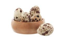 Uova di quaglie isolate su priorità bassa bianca Fotografie Stock