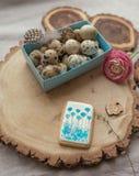 Uova di quaglie in una casella Fotografie Stock