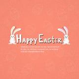 Uova di schizzo dell'insegna di Bunny Couple Happy Easter Holiday del coniglio Fotografie Stock