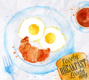 Uova di sorriso della prima colazione Immagine Stock