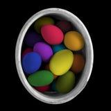 Uova dipinte per la festa nel secchio Fotografie Stock Libere da Diritti