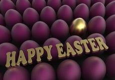 Uova dorate e porpora del fondo di Pasqua con il saluto di congratulazione Fotografie Stock Libere da Diritti