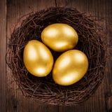 Uova dorate nel nido Fotografia Stock Libera da Diritti