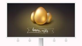 Uova dorate per la celebrazione di Pasqua felice sul tabellone per le affissioni Testo disegnato a mano pasqua felice dello scrit royalty illustrazione gratis