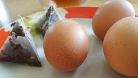 Uova e bustine di tè Fotografia Stock Libera da Diritti