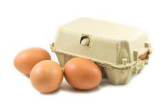 Uova e cartone di carta dell'uovo su fondo bianco Fotografie Stock Libere da Diritti