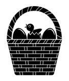 Uova e merce nel carrello del pulcino illustrazione di stock