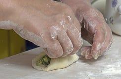 Uova e patè tradizionali russi della cipolla sul vassoio di cottura Immagini Stock