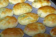 Uova e patè tradizionali russi della cipolla sul vassoio di cottura Immagine Stock
