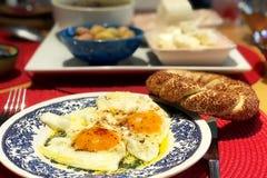 Uova e prima colazione del simit Immagini Stock