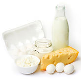 Uova e prodotti lattier-caseario freschi Immagine Stock