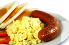 Uova e salsiccia rimescolate Fotografia Stock Libera da Diritti