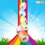 Uova ed arcobaleno di bingo di Pasqua Illustrazione di Stock