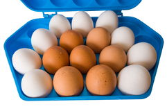 Uova ed il contenitore blu scuro. Fotografia Stock