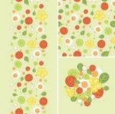 Uova ed insieme dell'insalata del modello senza cuciture e illustrazione di stock