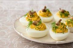 Uova farcite con i funghi, le cipolle verdi, l'aneto e la maionese Fotografia Stock Libera da Diritti