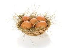 Uova, fieno in un canestro della rafia Fotografia Stock