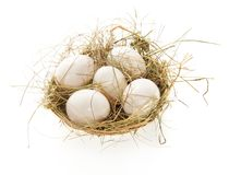 Uova, fieno in un canestro della rafia Fotografie Stock