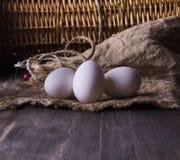 Uova fresche del pollo su uno scaffale di legno fotografie stock libere da diritti