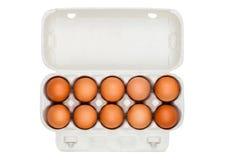 Uova fresche dell'azienda agricola cruda in vassoio del Libro Bianco Fotografia Stock