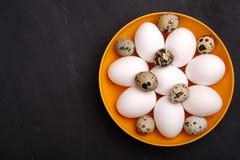 Uova fresche di quaglia e del pollo sul piatto giallo Vista superiore Alimento sano e concetto di agricoltura biologica Fotografia Stock Libera da Diritti