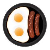 Uova fritte con le salsiccie Illustrazione di Stock