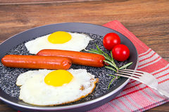 Uova fritte con le salsiccie fritte Immagine Stock Libera da Diritti