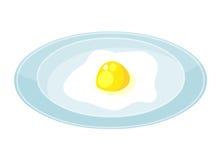 Uova fritte sull'illustrazione isolata piatto Fotografia Stock Libera da Diritti