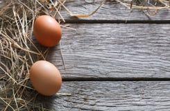 Uova marroni del pollo fresco su legno rustico, fondo di concetto di agricoltura biologica Fotografia Stock
