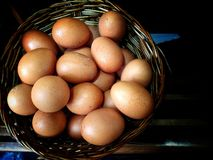 Uova nel canestro di vimini immagini stock libere da diritti