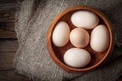 Uova organiche crude dell'azienda agricola Immagine Stock