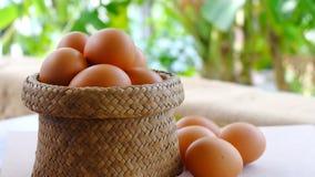 Uova organiche in un canestro di bambù su una tavola Immagini Stock Libere da Diritti