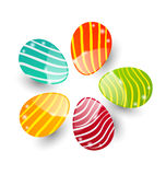 Uova ornamentali variopinte rassodate di Pasqua isolate Fotografia Stock