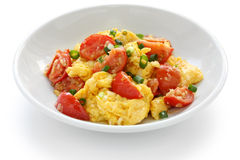 Uova rimescolate con i pomodori immagine stock libera da diritti